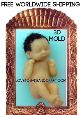 Baby mold, Silicone baby mould, OOAK baby, Thumbelina doll, Tiny baby mold, fondant baby, gumpaste baby, Free worldwide shipping